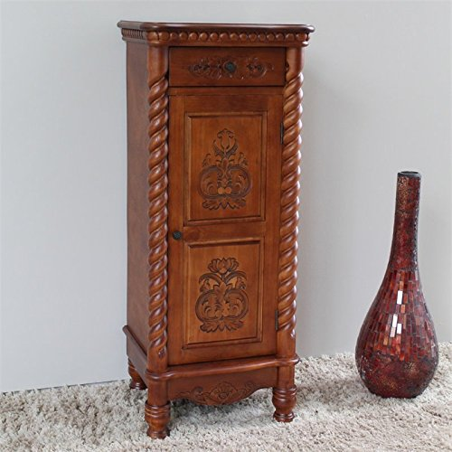 Hand Carved Indoor 2-Drawer Tall Wood Cabinet (2 Drawer Bombe Chest)