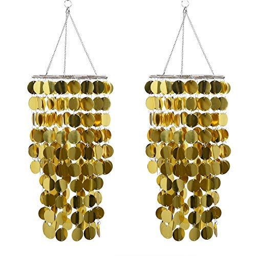 FlavorThings Gold Bling Hanging Chandelier Great idea for Wedding Chandeliers Centerpieces Decorations and Any Event Party Decor (Gold-2 pcs) -