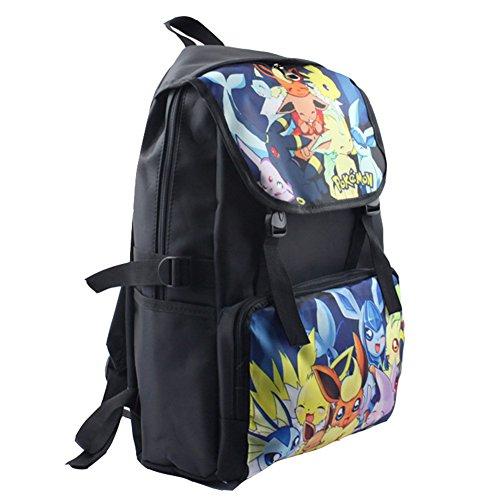 Coolchange Anime Pokemon Cartoon Eevee Color Drawing Schoolbag Travel Backpack
