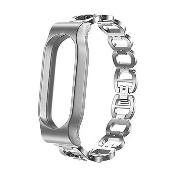 Skryo👍👍 Estilo de cadena de acero inoxidable Pulsera Correa de reloj elegante para Xiaomi Mi Band 2 (Silver)