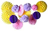 PAPER JAZZ Yellow pink lavender purple fan pinwheel pompom honeycomb ball party decoration kit party supply party favor for wedding birthday