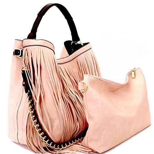 2pc Handbag Republic Fringe Hobo w/inner Bag Crossbody ()
