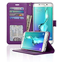 Samsung Galaxy S6 Edge Plus Folio Wallet Case, [Kickstand Feature] [Soft Silicon Protection] - Navor (Purple)