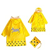 Kuyou Kid Rain Coat,Waterproof Children's Cute Raincoat Lightweight for Ages 3-12 Years Old Girls and Boys 4 Size (Yellow, S(tall 80-90cm))