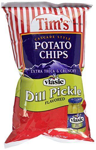 Tim's Cascade Style Potato Chips, Vlasic Dill Pickle, 7.5 Ounce