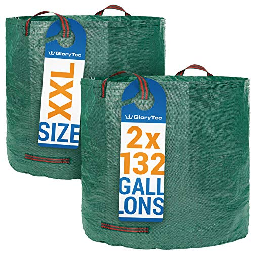 Glorytec 2-Pack Garden Bags - 132 Gallons Leaf Bag - Price-Performance Winner 2018 - Large Reusable Gardening Bagster with 4 Handles - Collapsible Lawn and Yard Waste -