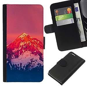 JackGot ( Montaña Nevada Sunset ) Apple iPhone 5C la tarjeta de Crédito Slots PU Funda de cuero Monedero caso cubierta de piel