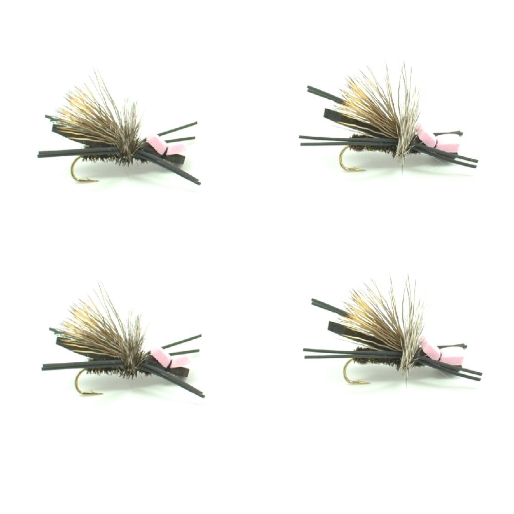 Hook Size 10 Gypsy King Foam Body High Visibility Grasshopper Dry Fly Fishing Fly 4 Flies Hopper Dropper Indicator Fly