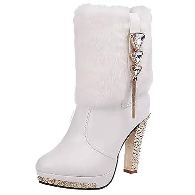 e5133b441831f CIELLTE Chaussures Bottines Femme Hiver Boots Chaussures à Talon Fourrure  Diamant Frange Plateforme Chaussure de Soirée
