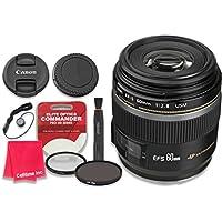 Canon EF-S 60mm f/2.8 Macro USM Lens with Elite Optics Commander Pro HD Series Ultra-Violet Protector UV Filter & Circular Polarizer CPL Multi-Coated Filter - International Version