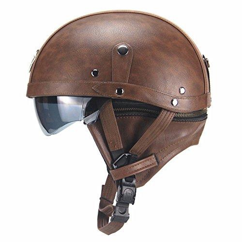 Casco de Cuero Unisex, Casco Retro de la Motocicleta, Casco de la Motocicleta Marron Oscuro