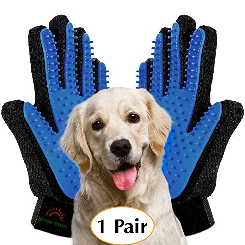 - Upgrade Version - Pet Grooming Glove - Gentle Deshedding Brush Gloves - Efficient Pet Hair Remover Mitt - Massage Tool with Enhanced Five Finger Design - Perfect for all types of Pet hair