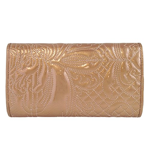 Tan Leather Patent Embroidered Patent Leather Embroidered Clutch TwIpfOYxq