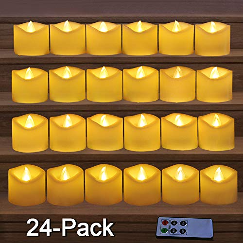 HOME MOST 24-Pack LED Votive Candles w Remote Timer - LED Flameless Votive Candles Flickering - Wedding Votive Candles Battery Operated Bulk Rustic Wedding Decorations Reception Table Top Candles