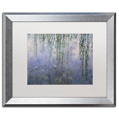 Water Lilies III 1840-1926 by Claude Monet, White Matte, Silver Frame 16x20-Inch