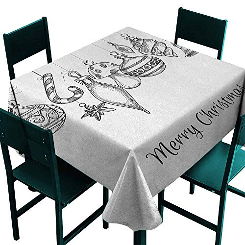 Warm Family Christmas Decorative Textured Fabric Tablecloth Sketchy Hand Drawn Classical Ornaments Hanging from Strings Celebration Text Great for Buffet Table W54 x L54 Black -