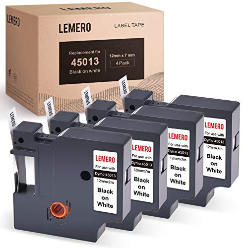 LEMERO Compatible with DYMO 45013 S0720530 D1 Tape Black on White 1/2 inch Label Tape for DYMO LabelManager 160 280 210D Rhino 4200 5200 PC Rhino 6000 1/2 Inch x 23 Feet (4 Pack)