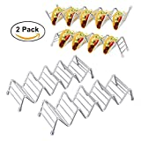 Taco Holder, Stainless Steel Taco Stand Taco Rack Hold 2 or 3 Hard or Soft Shells Taco Truck Tray Oven Safe for Baking (2 Pack)