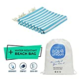 Turkish Handloomed Towel By Aqua Unique –Pre-Washed, Fashionable & Luxurious Towel For The Beach, Spa, Hotel, Festivals & Traveling | 100% Pure Turkish Cotton & Oeko-Tex Certified (Striped Trq)