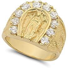 Large 18mm 14k Gold Plated Guadalupe Virgin Mary CZ Horseshoe Ring + Microfiber Jewelry Polishing Cloth