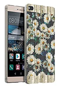 438 - Wood Effect Cool Daisy Floral Design Huawei Ascend P8 Fashion Trend CASE Gel Rubber Silicone All Edges Protection Case Cover