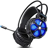 Gaming Headset for Xbox One S, X, PS4, PC with Soft Breathing Earmuffs, Adjustable Mic, Comfortable Mute & Automatic Cycling RGB LED Lights (Cool 2000 Gaming Headset)