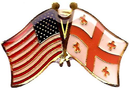Pack of 3 Georgia Republic & US Crossed Double Flag Lapel Pins, Georgian & American Friendship Pin Badge (Lapel Georgia Pin)