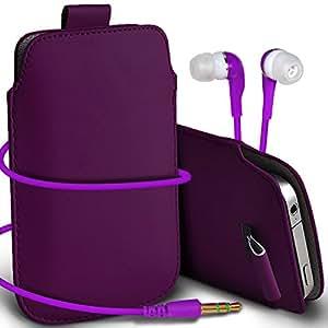 Online-Gadgets UK - HTC One Mini premium protección PU Tire de la cubierta del caso Tab bolsa deslizamiento del cordón en el bolsillo y los 3.5MM a juego del auricular del auricular Auriculares - Dark Purple