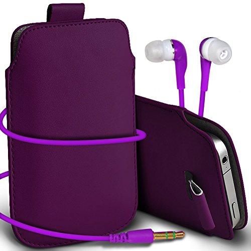 N4U Online - Apple Iphone 4S Prime de protection PU cuir Pull Tab cordon glisser la peau Pouch Pocket Housse & Matching casque 3,5 mm écouteurs écouteurs - Violet Foncé