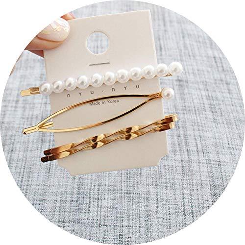 (Fashion Women Pearl Hair Hairpsimple Beads Rhinestone Metal Hair Clips Barrettes Hairgrip Headwear Hair Accessories,Set 4)