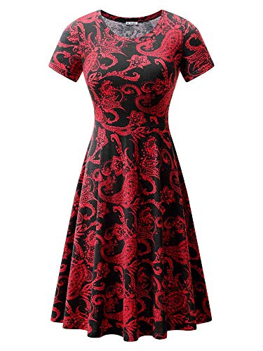 HUHOT Black Red Floral Paisley Dresses Women Summer Casual Vintage Flower Print (18028-38,S)