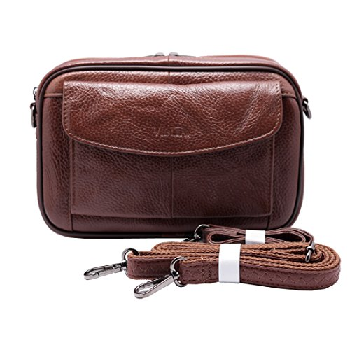 Mens Handbag Cowhide Leather Messenger Bag Organizer Checkbook Wallet Purse with Wristlet Crossbody Shoulder Strap (Tan)