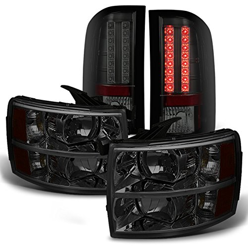For Chevy Silverado 1500/2500/3500 Pickup Truck Smoke Lens Headlight + Smoked LED Tail lights Combo