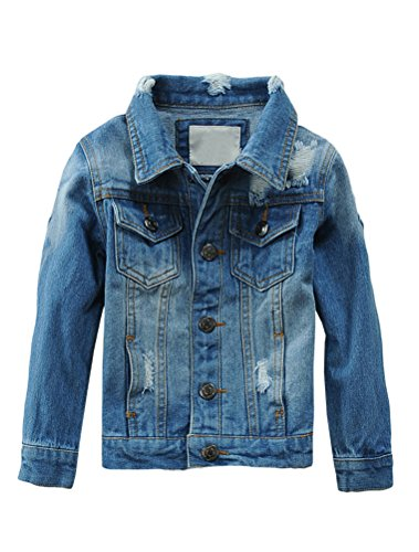 Mallimoda Baby Boys Girls Style 5 Denim Jacket Button Down Jean Coat Outwear Style 5 Denim 2-3 Years
