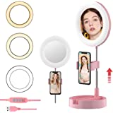Selfie Ring Light with Phone Holder, Foldable LED Desk Lamp Dimmable Phone Make Up Ringlight Stand Extendable Makeup Mirror TIK Tok YouTube Video Vlog Recording Photography Tiktok Live Stream (Pink)