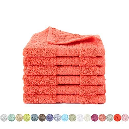 Hand Towel Set-Lotus Karen 4011(2018New Design) Cotton 6-Piece towels Rich colors Hand Towels (Orange Washcloths)