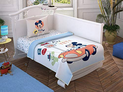 100% Cotton Baby Bedding Mickey Mouse Themed Bedspread Coverlet (Pique) Set with Fitted Sheet for Baby Boys, 4 Pieces 51wgHVlqqqL