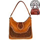 Montana West Concealed Gun Carrying Purse Hobo Tooled Genuine Leather Brown