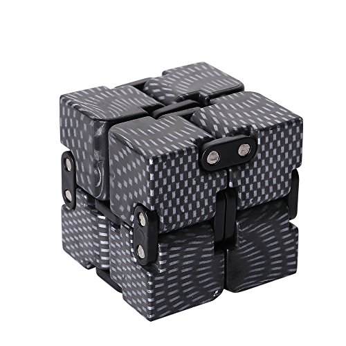 Fidget Infinity Cube Pressure Reduction Toy, Killing Time, Great for ADD ADHD Anxiety, for Adults and Children - Black color