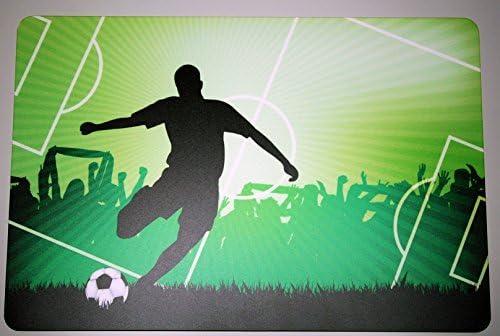 Schreibtischunterlage Fußballspieler auf Spielfeld 40 x 60 cm abwischbar Fußballfeld Ball Fußballspiel WM Fußballer grün