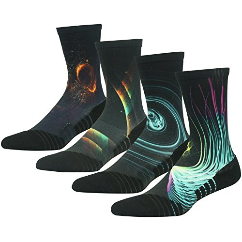 HUSO Galaxy Print Comfortable Moisture Wicking Outdoor Hiking Mid Calf Socks 4 Pairs Gift for Men Women (Multicolor, L/XL)