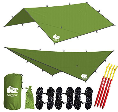 - CHILL GORILLA 12x12 Hammock Rain Fly Tent Tarp Waterproof Camping Shelter. Essential Survival Gear. Stakes Included. Lightweight. Easy to setup. Made from DIAMOND RIPSTOP Nylon. Camp Accessories GREEN