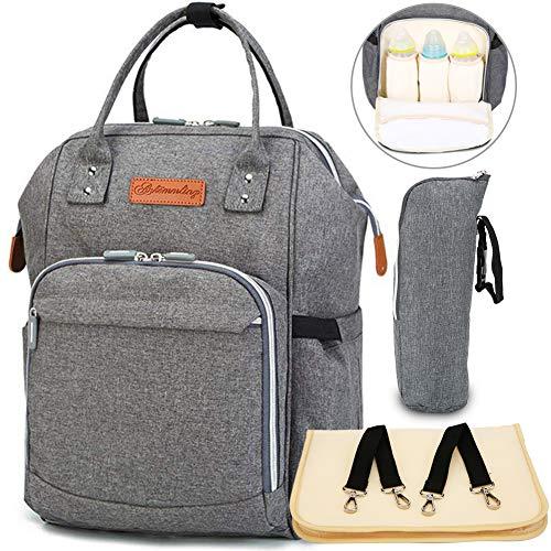 Charm Newborn Baby Bottle - RHMM Baby Diaper Bag Backpack Multi-Function Waterproof Travel Backpack Nappy Bags with Changing Pad,Insulated Bottle Pocket and Stroller Straps (Gray)