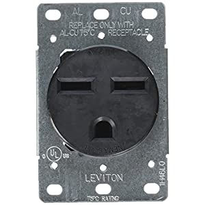 Leviton 5372-S00 30 Amp, 250 Volt, NEMA 6-30R, 2P, 3W, Flush Mtg Receptacle, Straight Blade, Industrial Grade, Grounding, Side Wired, Steel Strap, Black, pack of 1,
