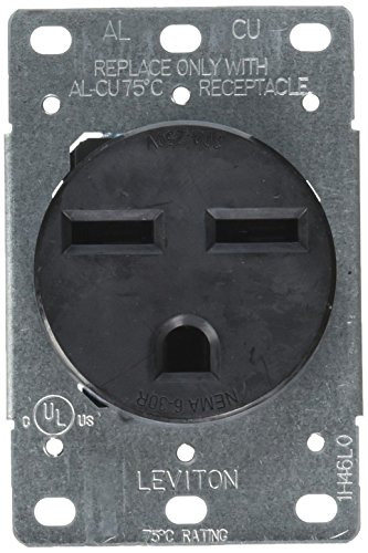 (Leviton 5372-S00 30 Amp, 250 Volt, NEMA 6-30R, 2P, 3W, Flush Mtg Receptacle, Straight Blade, Industrial Grade, Grounding, Side Wired, Steel Strap, Black, pack of 1,)