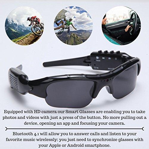 1e365fbc74a Wayli 720P Hidden Camera Sunglasses Video Recorder HD Camera Glasses With  Bluetooth Handsfree Answer and MP3
