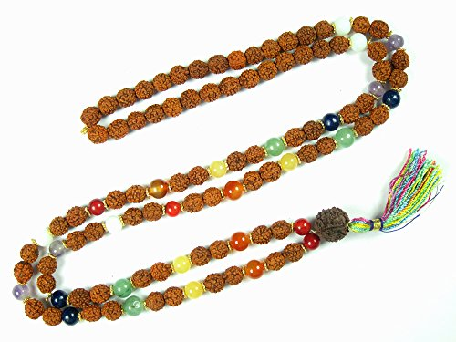 Seven Chakra Balancing Gemstone Japamala Rudraksha Meditation Prayer Mala