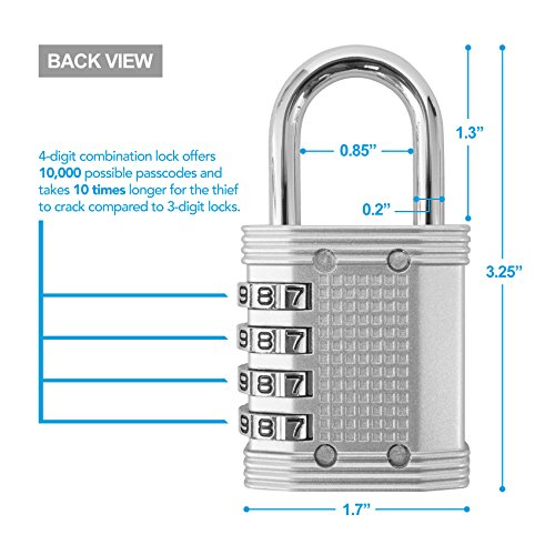 415wLlOtuHL Padlock - 4 Digit Combination Lock for Gym, Sports, School & Employee Locker, Outdoor, Fence, Hasp and Storage - All Weather Metal & Steel - Easy to Set Your Own Keyless Resettable Combo - Silver