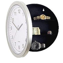 Transer Hidden Wall Mountable Clock Safe Security For Valuables Silver (Silver)