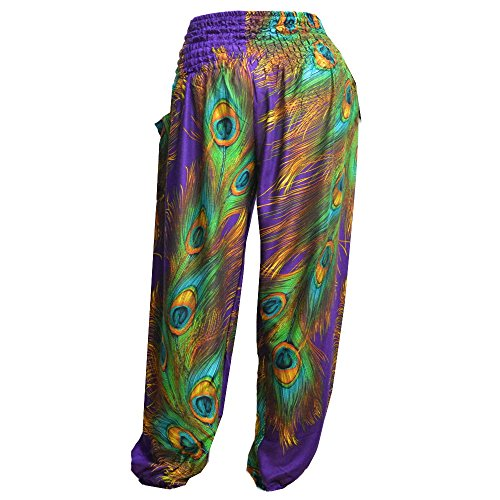 Mr Pantaloni Peacock Waist Donna Purple Harem Boho Bangkok Smocked T6xqrUWaTR